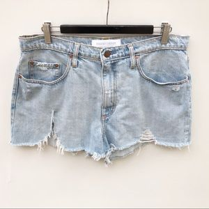Nobody 32 / 14 Skyline Super High Rise Relaxed Fit Denim Shorts Distressed